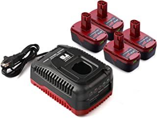 4-Pack 4.0Ah C3 19.2V Lithium Ion Batteries and Charger for Craftsman Cordless Drill 130211004, 11375, 1323903, 315.113753, 130279005, 130279003 2Packs Battery with Charger, 18 Months Warranty