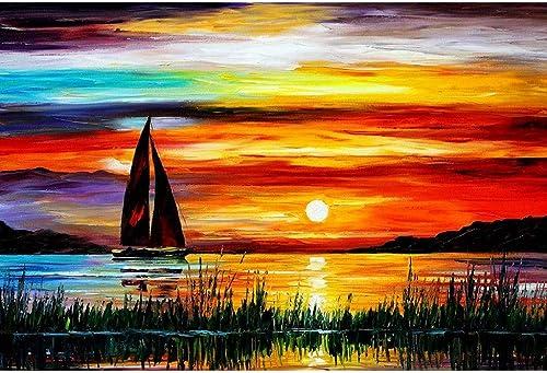 Puzzle House- Sailing in Ocean Drawing, Rompecabezas de Basswood, Velero en velero, Cut & Fit, 500 1000 1500 Piezas Rompecabezas de Madera en Caja Pintura Juguetes Juego Arte para Adultos y ni