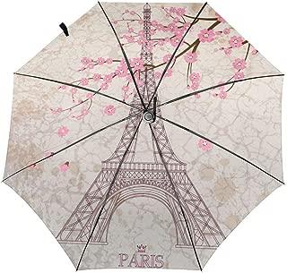 Auto Folding Umbrellas Vintage Eiffel Tower Pink Romantic Cherry Blossom Portable Foldable Umbrella Sun Rain Umbrella