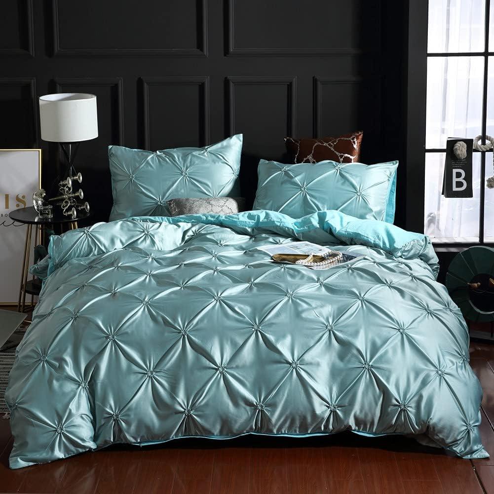 Abosbeet 百貨店 Pinch Pleated Duvet Cover Silk Pintuck Satin Like Queen WEB限定