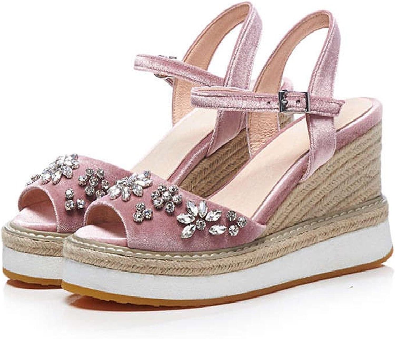 Spyman Open Toe Women Crystal High Wedge Sandals Summer Velvet Flower Rhinestone Casual Bohemia Platform Sandals S165