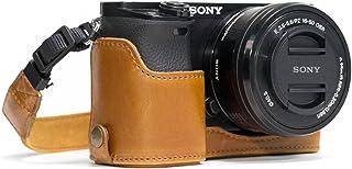 MegaGear Estuche Ever Ready Media Funda Estuche de Base Funda de Cuero de Pronto Uso con Correa Compatible con Sony Alpha A6300 A6000