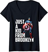 Womens Marvel Avengers Captain America Just A Kid From Brooklyn V-Neck T-Shirt