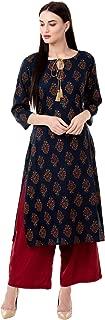 Chokhi Bandhni Women's Rayon Printed Kurta With Palazzo Set (Blue)