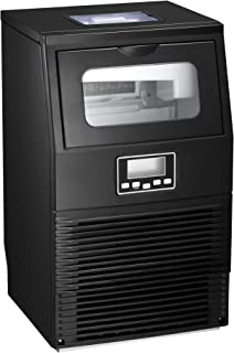 AGLUCKY Commercial Ice Maker Machine, Automatic Ice Maker,Ice Cube Ready in 11mins,8.8lbs Ice Storage,Self-clean Function,LCD Display,LED Light with Ice Shovel 84lbs/24h,Black