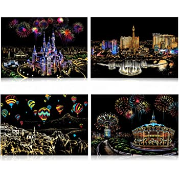 Engraving Art Set: 8 Sheets Scratch Cards /& Scratch Drawing Pen Rainbow Painting Night View Art/&Craft 8PACK Fireworks//Cherry blossoms Scratch /& Sketch Art Paper A4 for Kids /& Adults Clean Brush