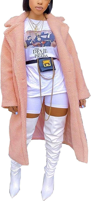 Women's Fuzzy Fleece Lapel Open Front Long Cardigan Coat Faux Fur Warm Winter Pink Pockets Outwear
