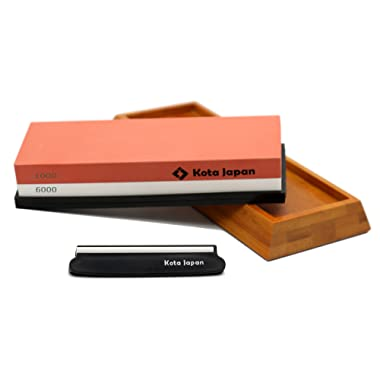 Kota Japan 1000-grit Coarse Side and 6000-grit Polishing Side Knife Sharpening Whetstone with Bamboo Base and Blade Guide