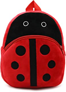 Mini mochila infantil para guardería, mochila escolar, ajustable, cremallera, mochila de ocio, con múltiples bolsillos, de tela, multicolor, mariquita (Rojo) - BB0460-H