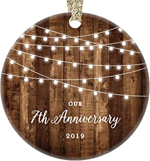 7th Anniversary Gifts Dated 2019 Seventh Anniversary Married Christmas Ornament for Couple Mr & Mrs Rustic Xmas Farmhouse Collectible Present 3