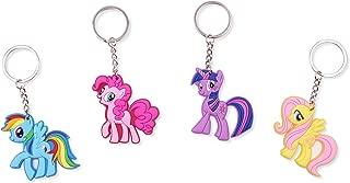 Finex Set of 4 My Little Pony Keychain for Backpack School Bag Handbag Tote Random Rainbow Dash Pinkie Pie Twilight Sparkle Fluttershy