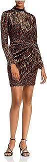 BLACK HALO Womens Green Leopard Print Long Sleeve Turtle Neck Short Body Con Evening Dress AU Size:14