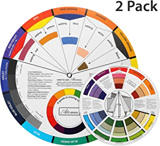 TANssential X ATOMUS Color Wheel for the Artists 2 Packs, Color Mixing Guide, Color Scheme Guide, Showing Color Relationships, 1 Pocket Size 5.5 Inch and 1 Plus Size 9.25 Inch