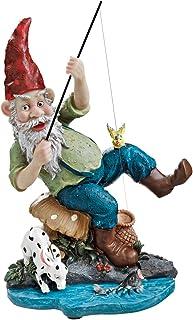 Design Toscano EU90673 Garden Gnome Statue - Gone Fishing Garden Gnome - Outdoor Garden Gnomes - Funny Lawn Gnome Statues
