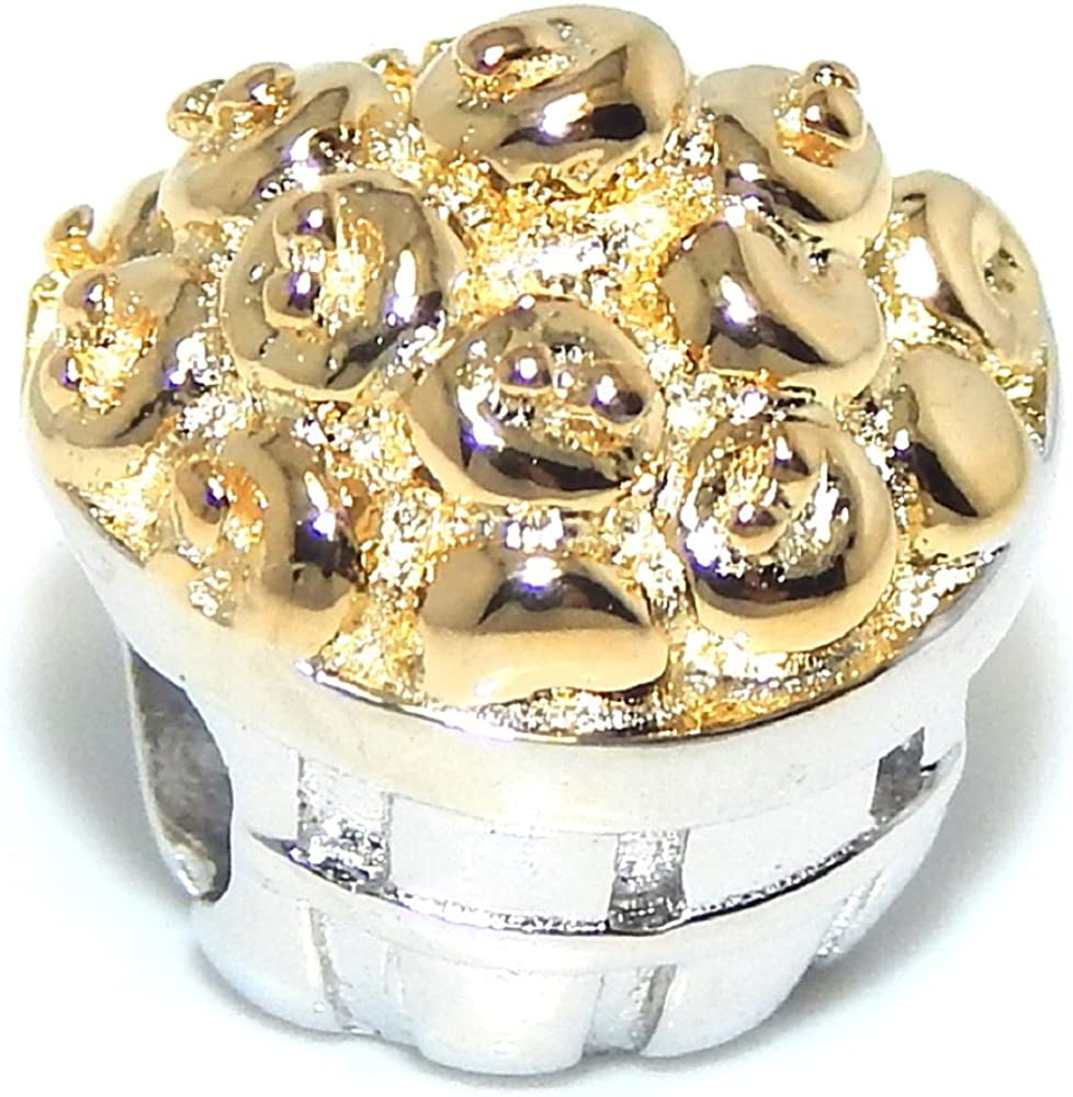 ICYROSE Solid 925 Sterling Silver Basket of Gold Colored Apples Charm Bead 747 for European Snake Chain Bracelets