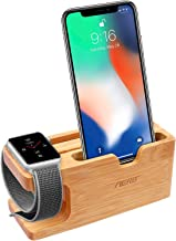 Apple Watch Stand, Aerb iWatch Bamboo Wood Charging Stand Bracket Docking Station Cradle Holder W Business Card Slot Phone Stand for iPhone X 8 7 6 Plus 5 and Apple Watch Both 38mm and 42mm