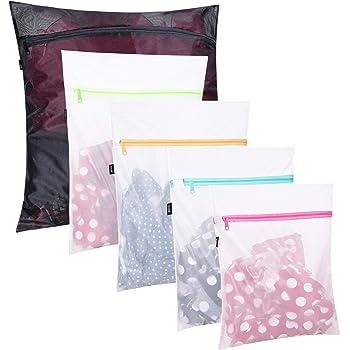 Set of 5 Mesh Laundry Bags-1 Extra Large, 2 Large & 2 Medium Bags Laundry,Blouse, Hosiery, Stocking, Underwear, Bra Lingerie, Travel Laundry Bag