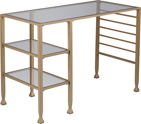 Gold Glass Office Table 2 Tier Design Iron Metal Glass Construction Writing Desk