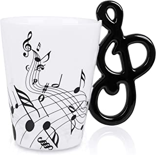 LanHong - 13.5 oz Music Mug Musical Notes Design Coffee Cup Ceramic Music Musical Notes Cup Gift for Friend