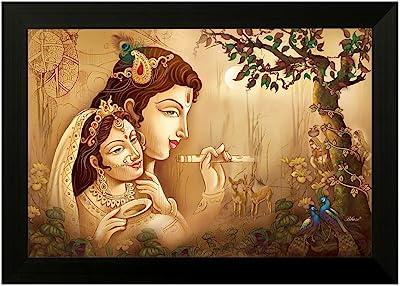 SAF Radha Krishna 6670 UV Textured Framed Art Print (35 x 50 x 2 cms) SANFMA6670
