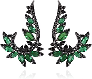 Marquise Green Glass Black Crystal Silvertone Ear Climber Cluster Wrap Earrings for Women Jewelry Cttw 3