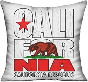 """DKRetro Throw Pillows California Republic - Cushion Include Pillow Cover And Insert, Square 18"""" X 18"""" For Decorative Couch"""