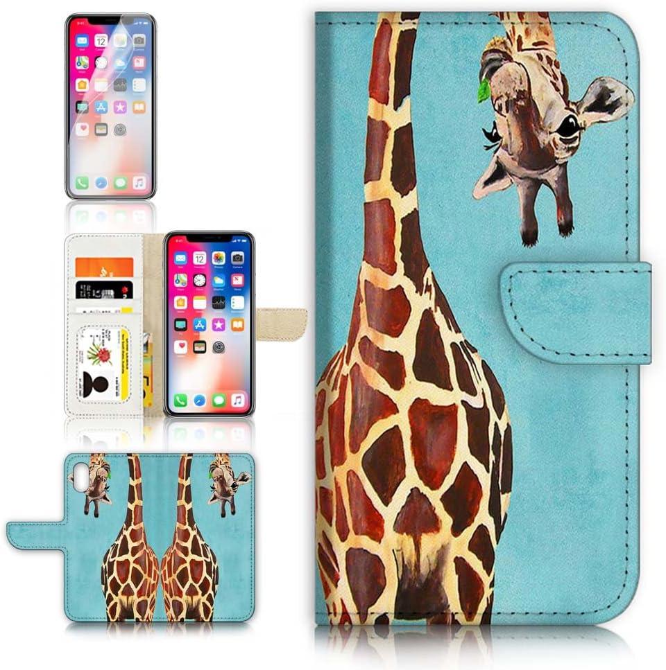 (for iPhone XR) Flip Wallet Case Cover & Screen Protector Bundle - A4131 Giraffe