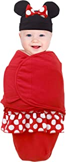 Minnie Mouse 100% Cotton Knit Fitted Swaddle Baby Blanket with Minnie Ears & Bow Beanie, Red/Black/White, 0-4 Months