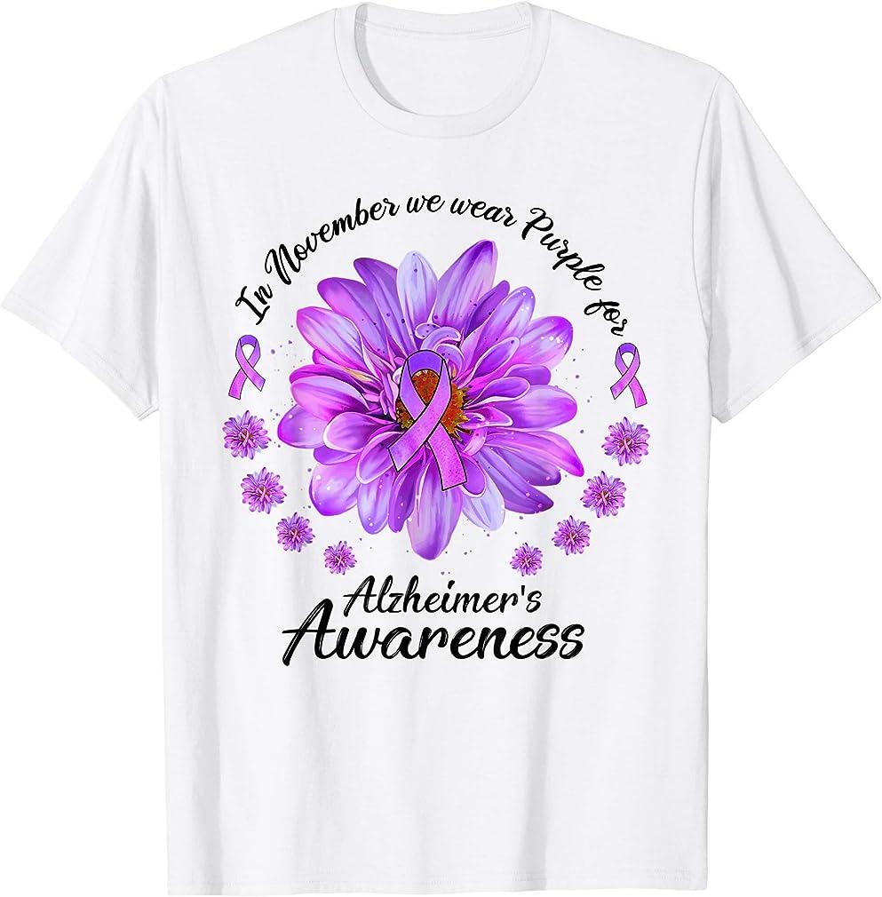 Daisy In November We Wear Purple For Alzheimers Awareness T-shirt