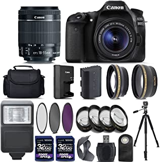 Canon EOS 80D Digital SLR Camera + 18-55mm is STM Lens + 2 X 32GB + Telephoto + Wide-Angle Lens + 4PC Macro Kit + 3PC Filt...