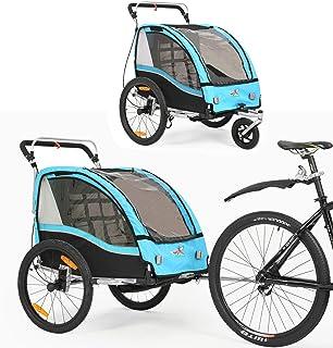 360 ° drehbarer multifunktionaler 2-in-1 Fahrradanhänger / Kinderwagen Zweisitzer Kinderwagen Transporter mit Handbremse / Federung BT503