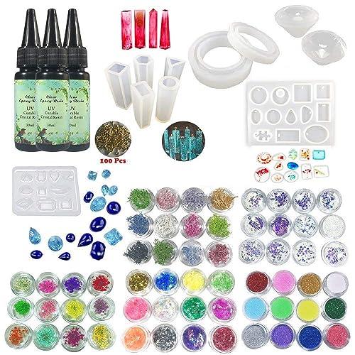 Joligel Kit Resina Epoxi para Joyas UV Transparente Rápida con Moldes Silicona (31 Formas)