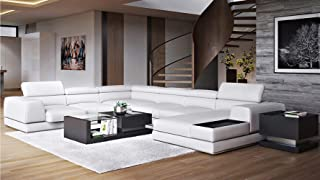 Zuri Furniture Wynn Leather Sectional Sofa with Adjustable Headrests - Right Chaise
