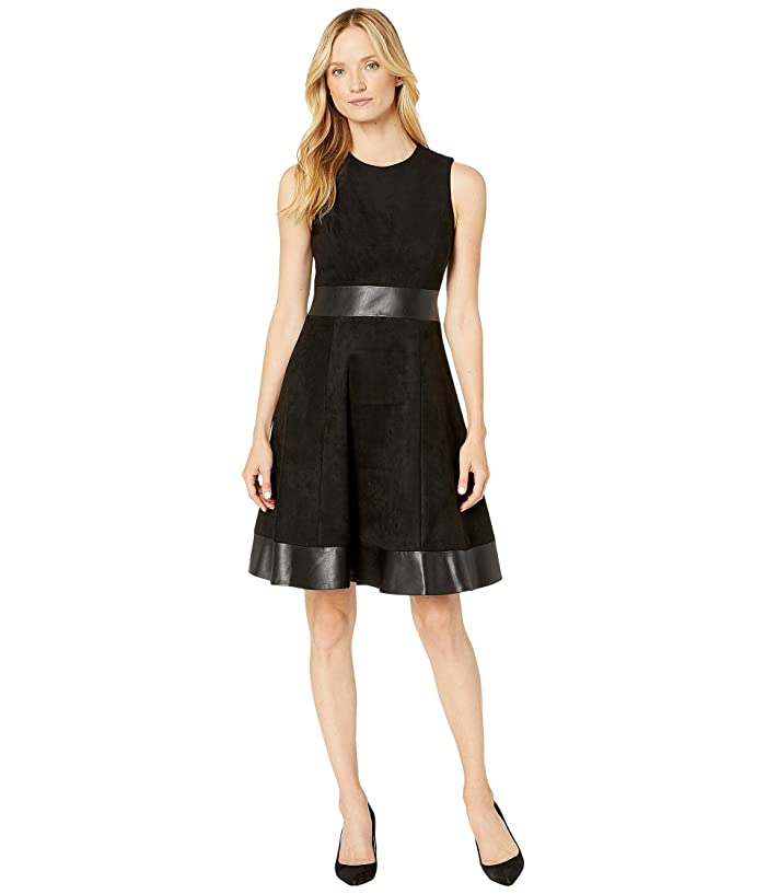 Line Dress with PU Detail (Black/Black) Women's Dress