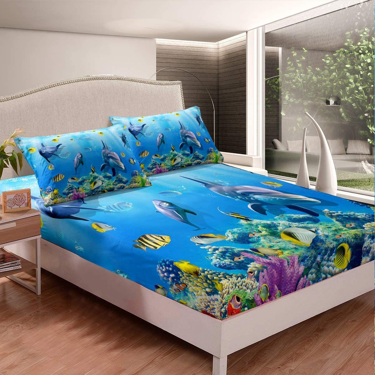 Kids Bed Sheet Set Cute Dinosaur Bedding Set Jungle Animals Pattern Fitted Sheet for Girls Boys Children 3D Dinosaur Printed Bed Cover Decorative Cartoon Zoo Bedding Twin Size