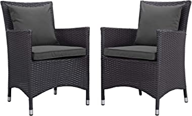 Modern Outdoor Patio Side Dining Armchair Chair, Set of Two, Fabric Rattan Wicker, Drak Grey Gray