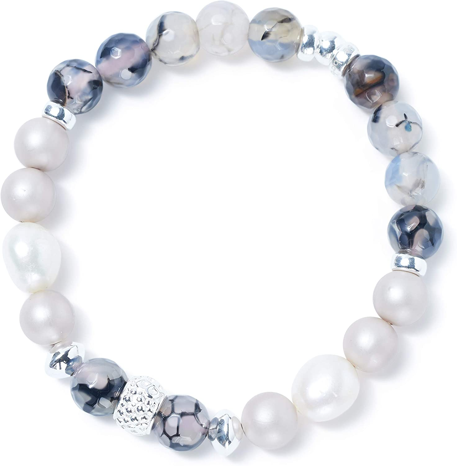 unisex BeBlue Fine Stones Bracelet Houston Mall 8 mm and S Freshwater Pearls with