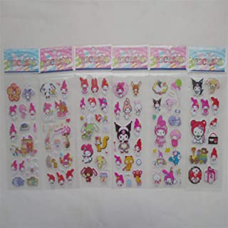 20 Sheets/Set Cute My Melody Kuromi Rabbit Decorative PVC Stickers DIY Phone Diary Phone Album Stickers