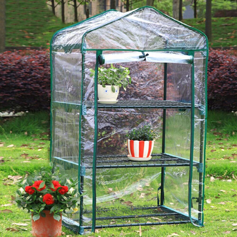 Delleu Mini Invernadero, Invernaderos de Plantas pequeñas, Soportes de Rack de 3 Niveles Jardín portátil Invernadero para Exteriores e Interiores 126x69x49cm: Amazon.es: Jardín