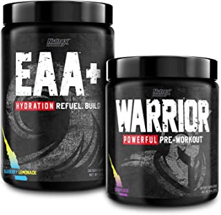 Nutrex Warrior High Stim Pre Workout Grapeade with EAA Hydration Blueberry Lemonade Sports Recovery Drink Mix Bundle