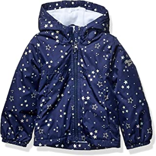 OshKosh B'Gosh Girls' Little Midweight Jacket with Fleece Lining, Color-Changing Unicorn On Navy, 6X