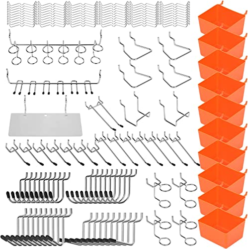 high quality HORUSDY 2021 142-Piece Pegboard Hooks Assortment, Pegboard Accessories with Pegboard Bins for Organizing sale Various Tools sale