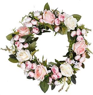 Inneneinrichtungen Hochzeit 1Pc TrusMe K/ünstliche Blumen Kranz Peony 16Inch T/ür Fr/ühlings-Kranz Runde Kranz F/ür Die Haust/ür