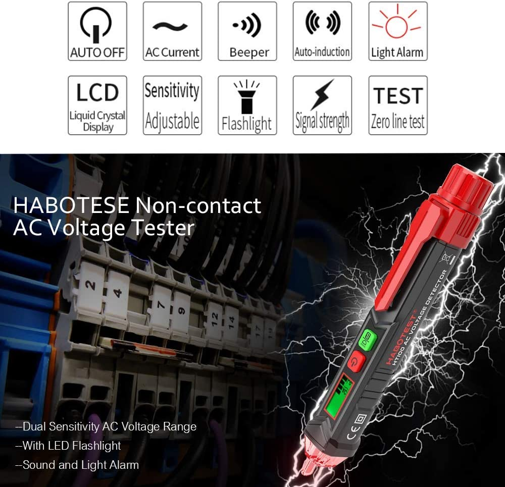 Portable Non-Contact AC Voltage Tester Alert Detector with Sound and Light Alarm