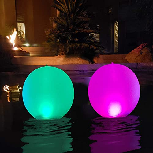 "Floating Pool Lights Inflatable Waterproof IP68 Solar Glow Globe,14"" Outdoor Pool Ball Lamp 4 Color Changing LED Nigh..."