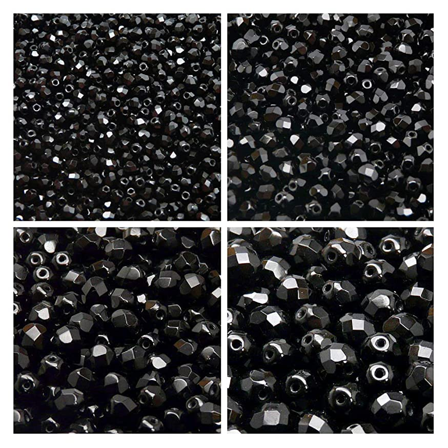 Czech Fire-Polished Glass Beads Round 3mm, 4mm, 6mm, 8mm, Jet Black. Set 1CFP 002 (3FP001 4FP001 6FP001 8FP001)