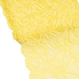SCALLOPED STRETCH FLORAL LACE-YELLOW-DRESS//BRIDAL FABRIC-FREE P/&P
