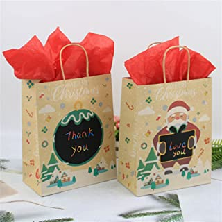 Gift Box 16pcs Santa Kraft Paper Handbag DIY Graffiti Candy Chocolate Cookies Bag Favor Gift Box Home Party Merry Christma...