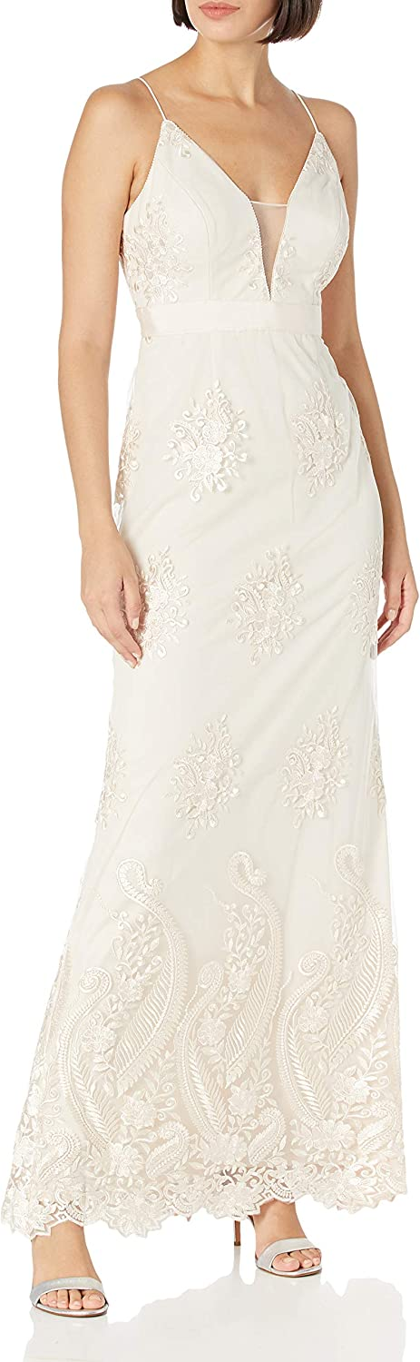 Adrianna Papell Women's Embroidered Tulle Dress