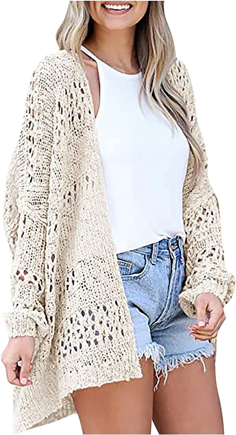 Black Cardigan for Women Hollow Out Knit Sweater Casual Solid Color Jacket Tops All-Match Daily Loose Blouse